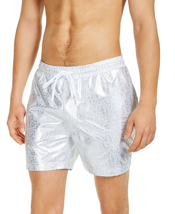 "INC International Concepts INC Men's Mateo Foil Print 5"" Swim Trunks, Created for Macy's"