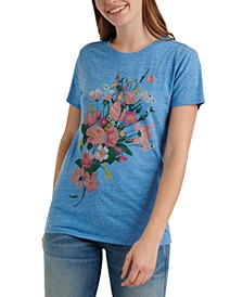Crew-Neck Floral-Graphic T-Shirt