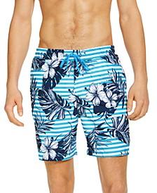 "Men's Stripe Floral Leaf 7"" Swim Trunks, Created for Macy's"