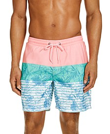 "Men's Tri-Color Floral 7"" Swim Trunks, Created for Macy's"