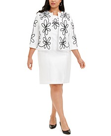 Plus Size Embroidered Floral Jacket & Sheath Dress
