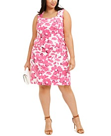 Plus Size Brushstroke Floral Crepe Dress