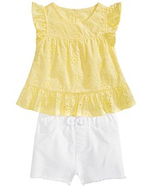 Baby Girls Eyelet Flutter Top & Shorts Separates, Created for Macy's