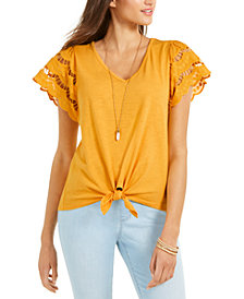 Style & Co Eyelet-Sleeve Tie-Front Top, Created for Macy's