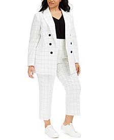 Trendy Plus Size Double-Breasted Windowpane Blazer , T-Shirt & Dress Pants, Created for Macy's