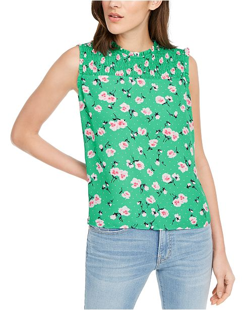 Maison Jules Ruffled Floral-Print Top, Created for Macy's