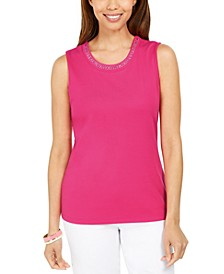 Cotton Embellished-Neck Top, Created For Macy's