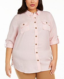 Plus Size Button-Front Roll-Tab-Sleeve Top, Created for Macy's