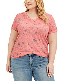 Plus Size Printed Burnout T-Shirt, Created for Macy's