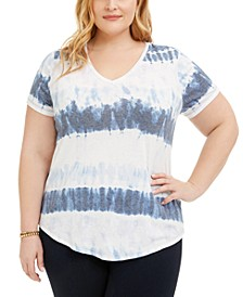 Plus Size Tie-Dyed V-Neck T-Shirt, Created for Macy's
