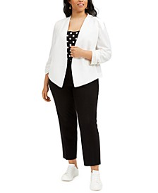 Trendy Plus Size Jacket, Polka-Dot Top & Ankle Pants, Created for Macy's