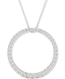 "Lab-Created Diamond Circle Pendant Necklace (1/2 ct. t.w.) in Sterling Silver, 16"" + 2"" extender"
