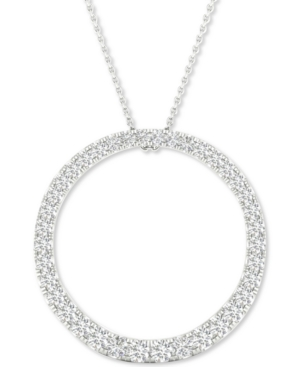 Lab-Created Diamond Circle Pendant Necklace (1/2 ct. t.w.) in Sterling Silver