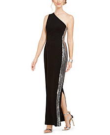 Vince Camuto Petite Sequined One-Shoulder Gown