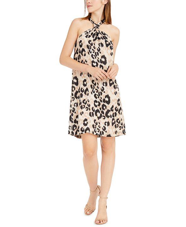 Trina Turk Halter Animal-Print Dress