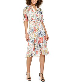 Petite Floral-Print Shirt Dress