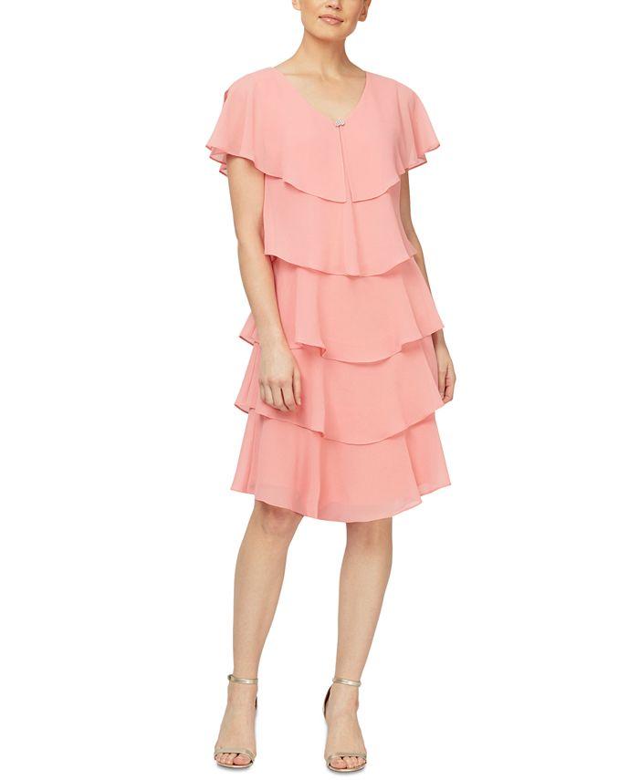 SL Fashions - Tiered Rhinestone Capelet Dress
