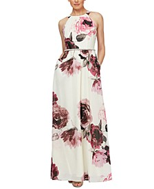Petite Floral-Print Embellished-Waist Maxi Dress
