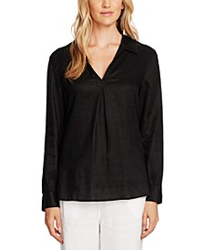 Linen Collared Tunic Top