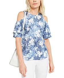 Bleached Floral Cold-Shoulder Top, Regular & Petite Sizes