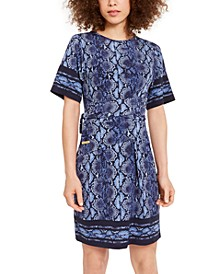 Printed Tie-Waist Dress, Regular & Petite