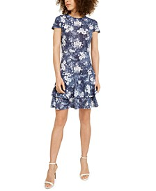 Printed Double-Tiered Dress, Regular & Petite Sizes