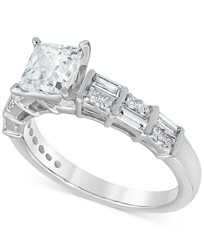 Macy's - Diamond Princess Engagement Ring (1-1/2 ct. t.w.) in 14k White Gold