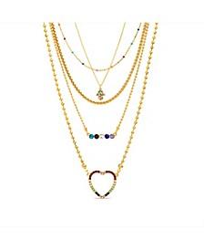 Heart, Hamsa and Bar Layered Necklace