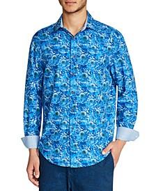 Men's Slim Fit 4-Way Stretch Sunflower Print Long Sleeve Shirt