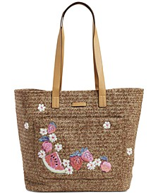 Embroidered Straw Tote
