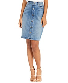 Button-Front Denim Pencil Skirt