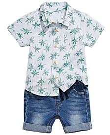 Baby Boys Palm Tree Shirt & Denim Shorts Separates, Created for Macy's