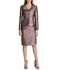 Metallic-Floral Skirt Suit