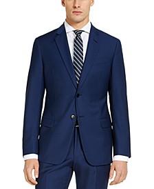 Men's Modern-Fit High Blue Pindot Wool Suit Jacket