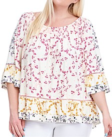 Plus Size Smocked-Neck Printed Top