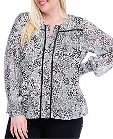 Plus Size Printed Crochet-Trim Blouse