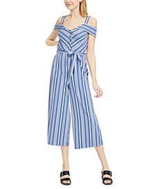 Juniors' Blue-Striped Jumpsuit