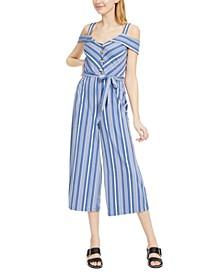Juniors' Blue-Striped Jumpsuit