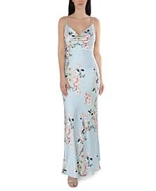 Juniors' Floral-Print Cowlneck Gown