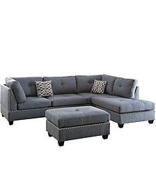 Venetian Worldwide Florence 3-Piece Sectional Sofa with Ottoman