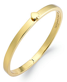 kate spade new york Bracelet, 12k Gold-Plated Spade Hinged Thin Bangle Bracelet