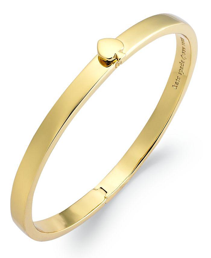 kate spade new york - Bracelet, 12k Gold-Plated Spade Hinged Thin Bangle Bracelet