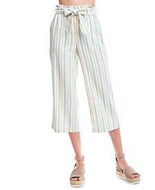 Striped Cropped Wide-Leg Pants
