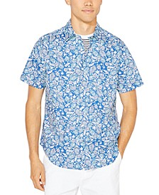 Men's Blue Sail Tropical Floral-Print Shirt, Created for Macy's
