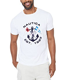 Men's Flags and Anchor Graphic T-Shirt