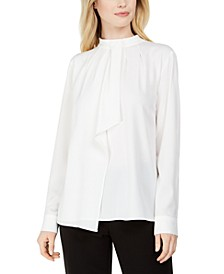 Mock-Neck Ruffled-Front Top