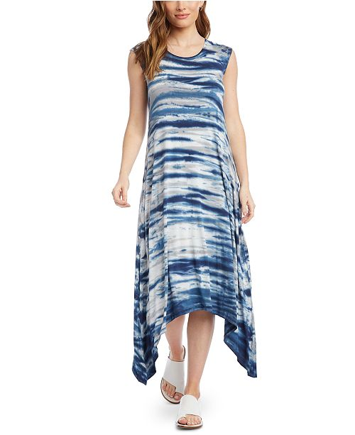 Karen Kane Tie-Dyed Handkerchief-Hem Midi Dress