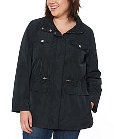 Plus Size Water-Resistant Anorak Jacket