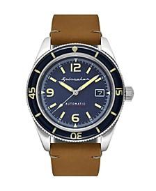 Men's Fleuss Automatic Brown Genuine Leather Strap Watch 43mm