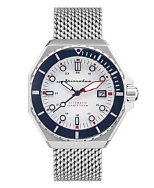 Men's Dumas Automatic Silver-Tone Stainless Steel Mlianese Mesh Bracelet Watch 44mm